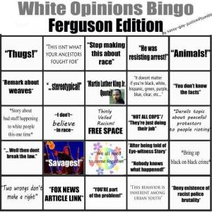 White Racism BINGO